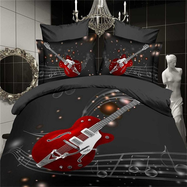 Black Red Guitar Bedding Set