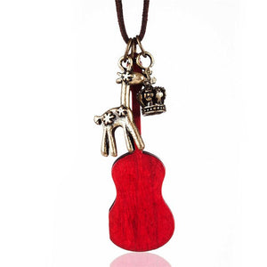 Long Rope Chain Wooden Guitar Pendant