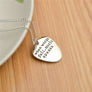 Silver Necklace Guitar Pick