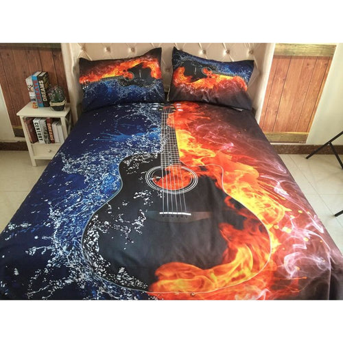 Fire and Water Guitar Bedding Set