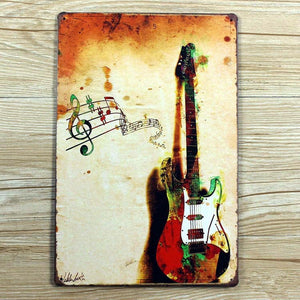 Vintage guitar metal wall art