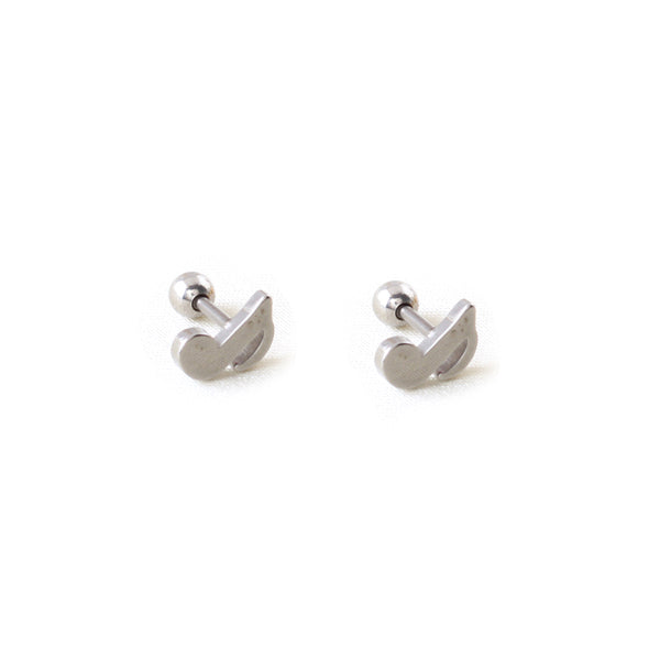 Titanium Steel Music Note Stud Earrings
