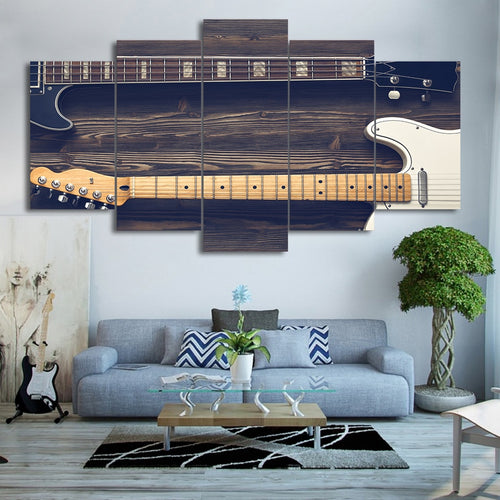 Wall Art Modular Poster 5 Panel Guitar Canvas