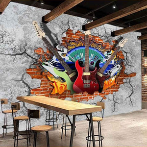 3D Guitar Rock Graffiti Art Broken Brick Wallpaper