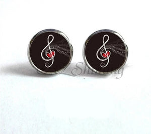 Glass Dome Music Notes Stud Earrings
