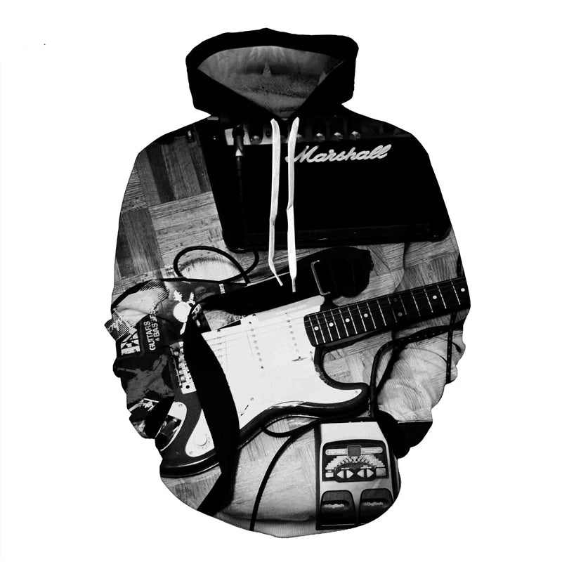 Guitar Sweatshirt Pattern 3D Printed Band Guitar