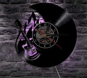 Guitar LED Vinyl Wall Light Remote Controller Clock