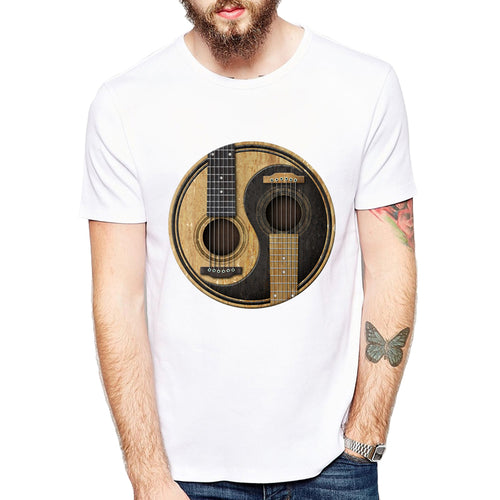 Cool T-shirt Worn Acoustic Guitars T Shirt Men