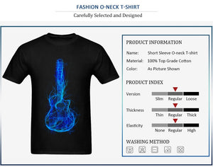 Electric Guitar Men T Shirts 3D Printed  100% Cotton Short Sleeve