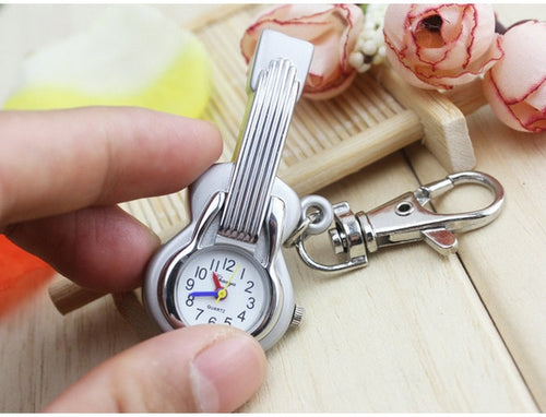 Retro Guitar Shape Pocket Watch with Keychain