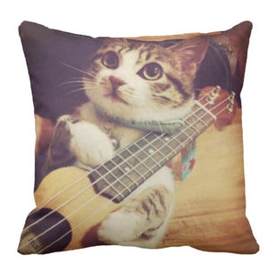 Cute Guitar Cat Throw Pillowcase