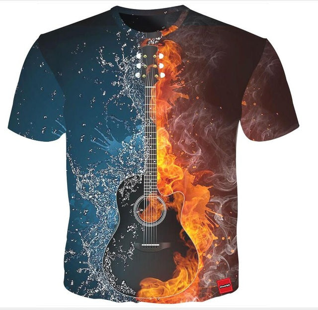 Water and Fire T-Shirt Guitar