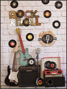 Music Band Disc Rock&Roll Guitar Wall Background