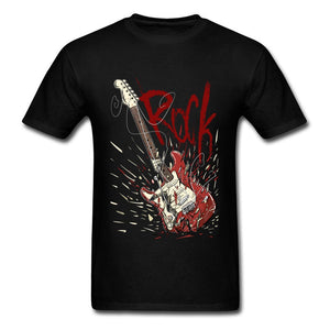 Rock Men Broken Guitar Print T-shirt