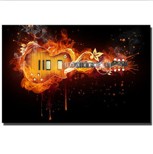 Electric Guitar Abstract Guitar Wall Art Canvas