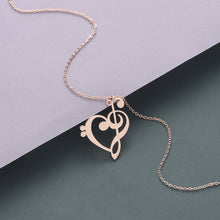 Heart G Clef Bass Clef Necklace