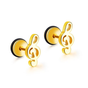 Cute Music Guitar Stainless Steel Stud Earrings