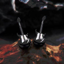 Punk Black Guitar Earrings