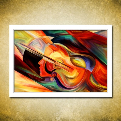 Abstract Guitar Woman Design Oil Painting