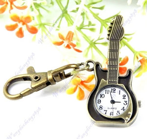 Unique Retro Guitar Pocket Watch Keychain