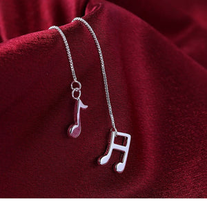Musical Note Silver Drop Earrings