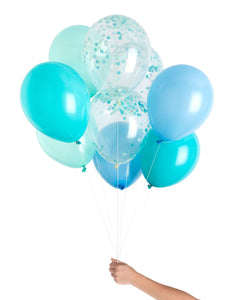 boy baby shower balloons, blue and white balloons, its a boy balloons