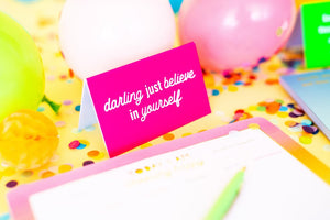 believe in yourself, desk decoration , pink decoration