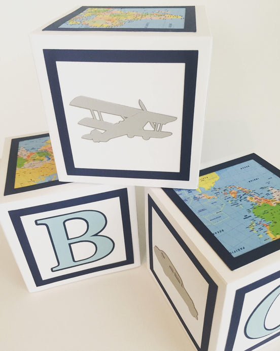 Adventure Awaits Themed  Baby Boy Shower Decoration- Alphabet Block