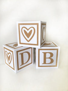 Natural Rustic Baby Shower Decorations, Boy or Girl, Gender Neutral Alphabet Block