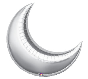 Silver Crescent Moon Balloon- Twinkle Twinkle Little Star Baby Shower Decorations