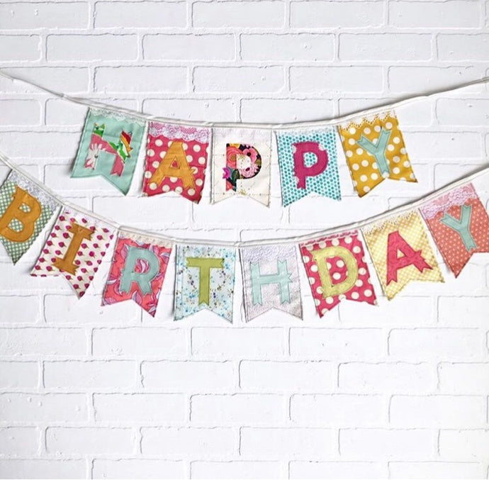 fabric banner, reusable banner, happy birthday decoration, colorful decoration, heirloom