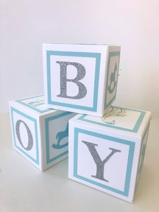 baby boy baby shower decorations, alphabet blocks, table decorations