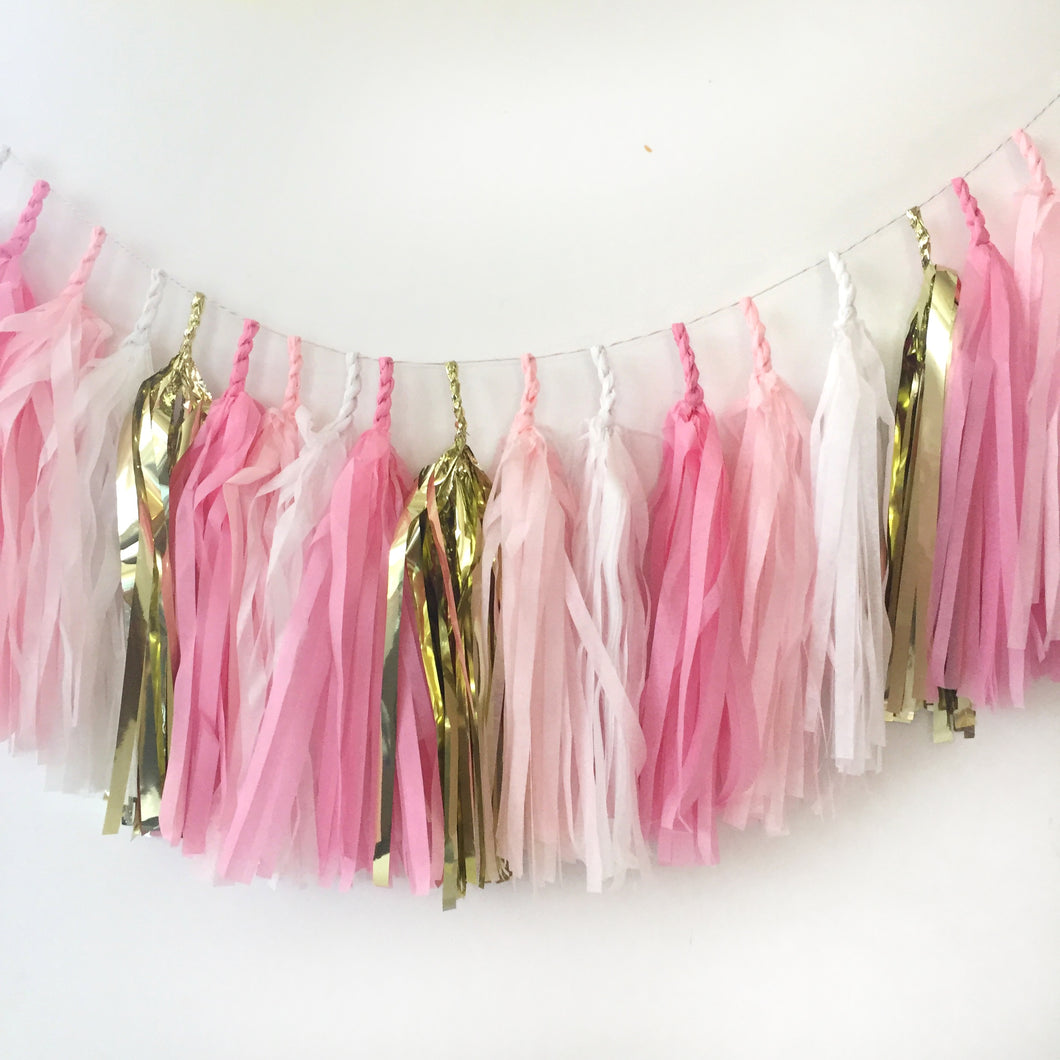 pink and gold baby shower decoration, banner, garland