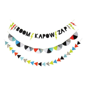 zap garland, superhero decorations
