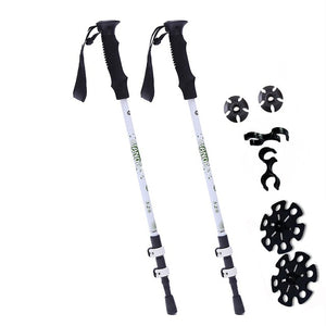 2Pcs Anti Shock Nordic Walking Sticks Telescopic Trekking Hiking Poles Ultralight Walking Canes With Rubber Tips Protectors
