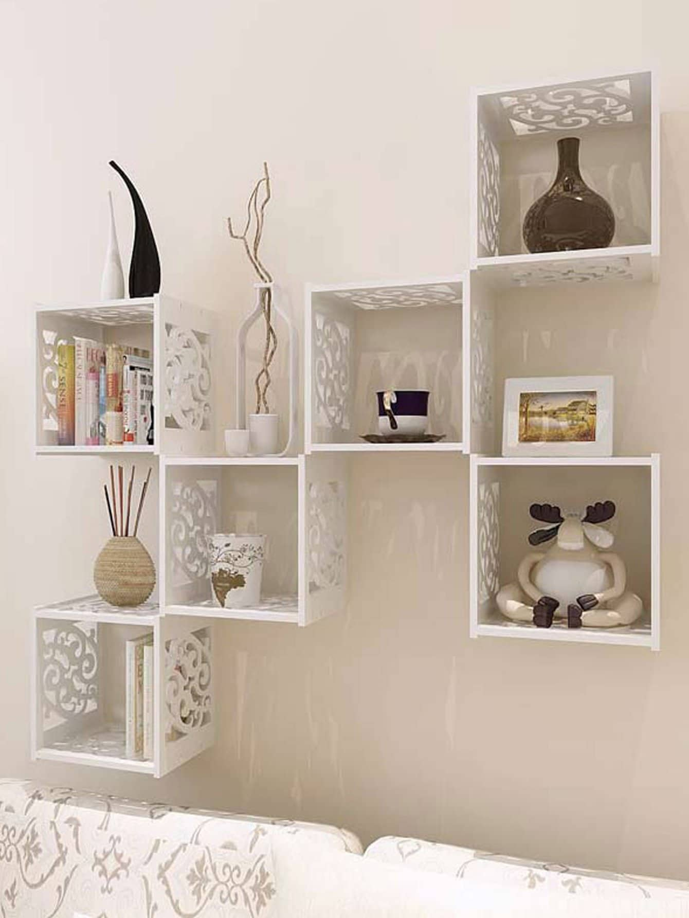 Hollow Grid Cantilever Wall Shelf 1pc