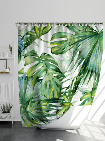 Turtle Back Leaf Overlay Print Shower Curtain 1pc