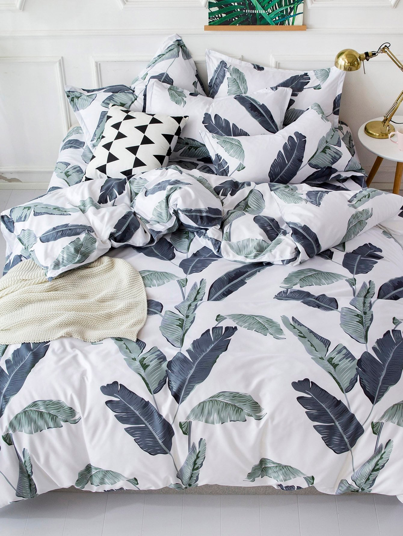 Leaf Print Print Duvet Cover 1PC
