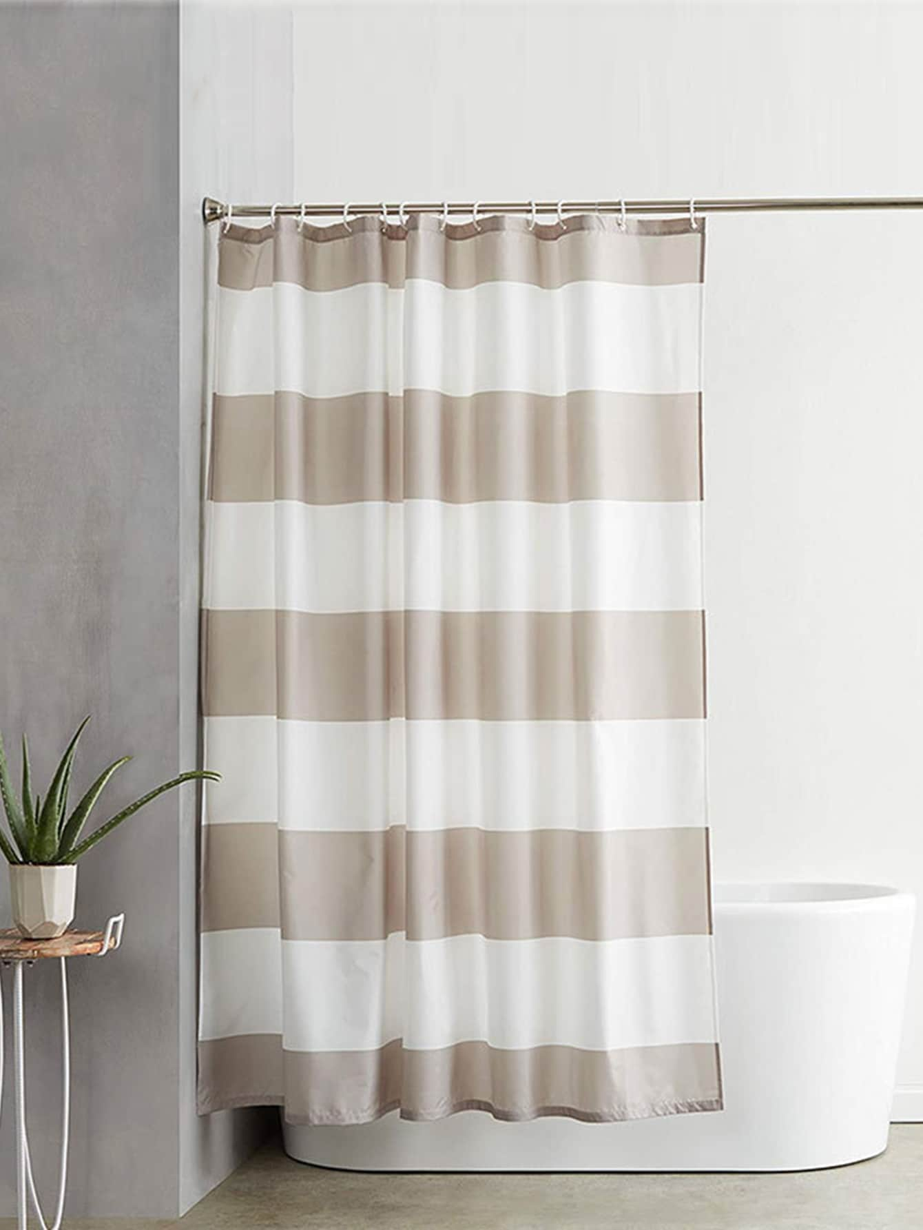 Stripe Pattern Shower Curtain With 12hooks