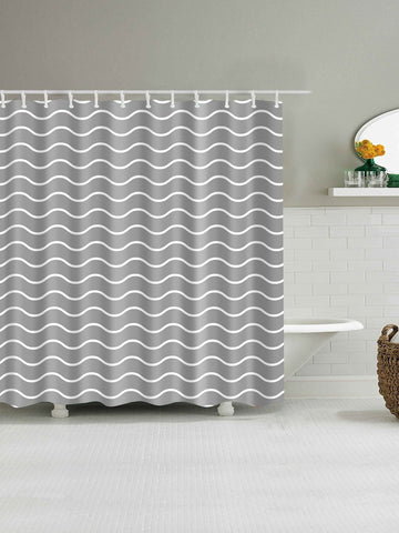 Wavy Print Shower Curtain With 12hooks