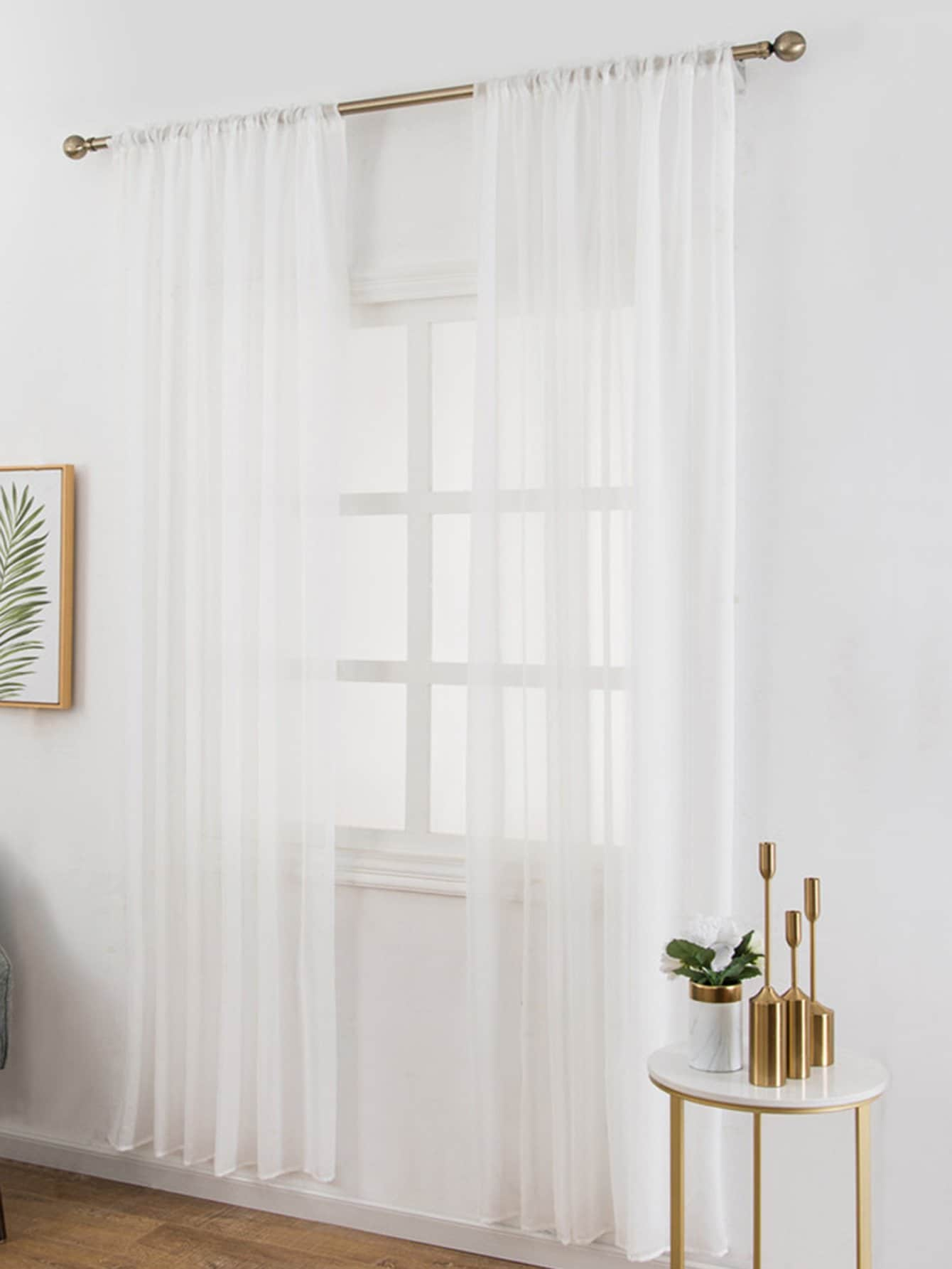Mesh Design Rod Pocket Sheer Curtain 1pc