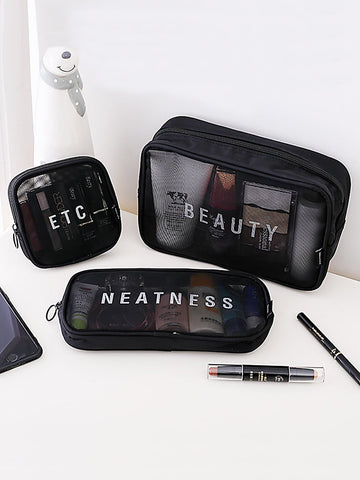 Mesh Cosmetic Storage Bag 3pcs