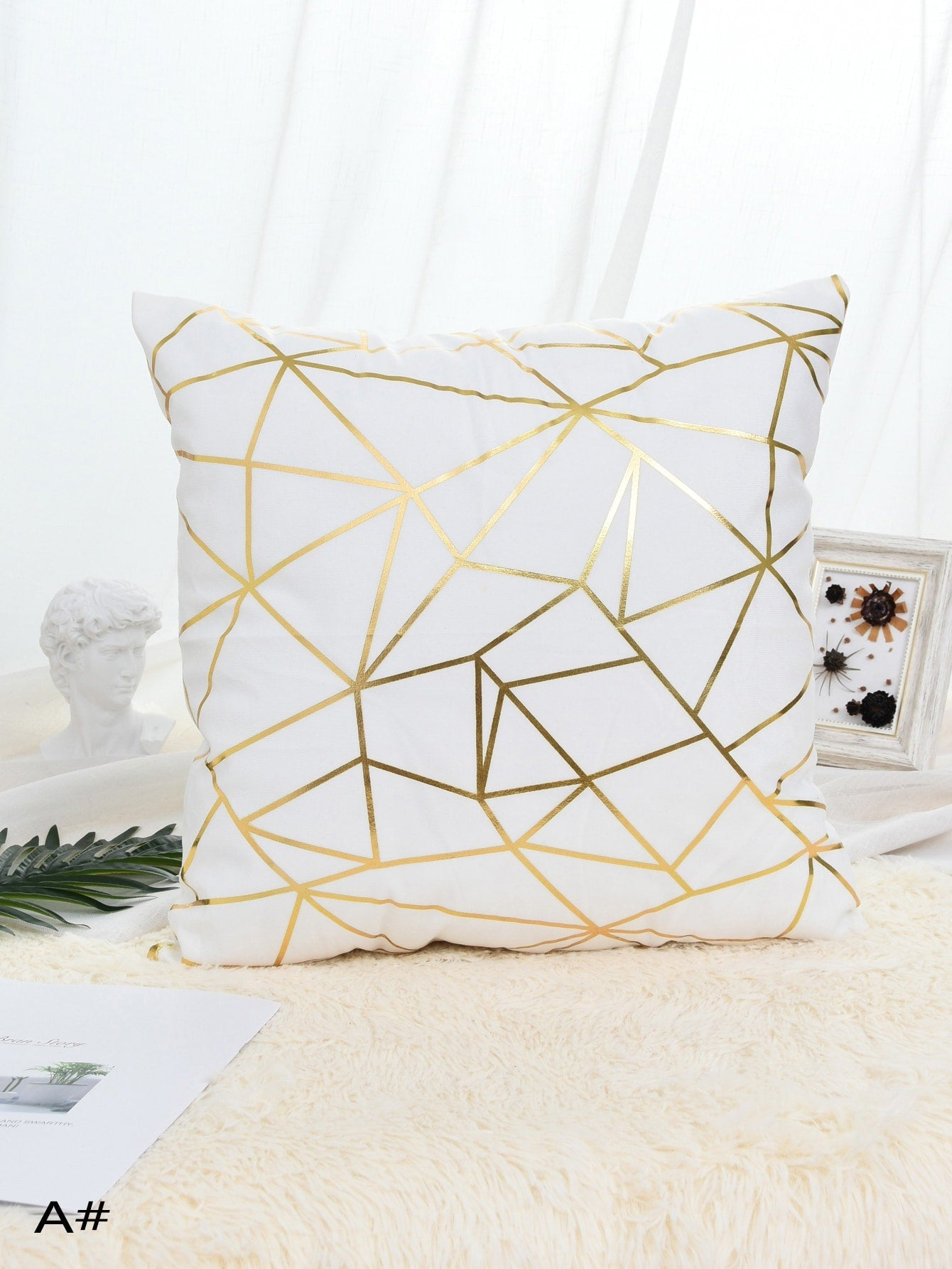 Geometric Pattern Print Cushion Cover 1pc