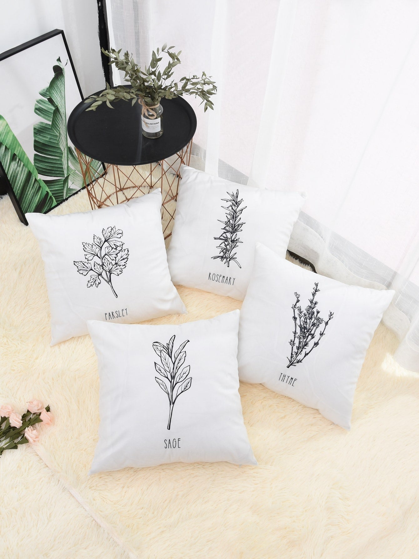 Plant Print Cushion Cover 1pc