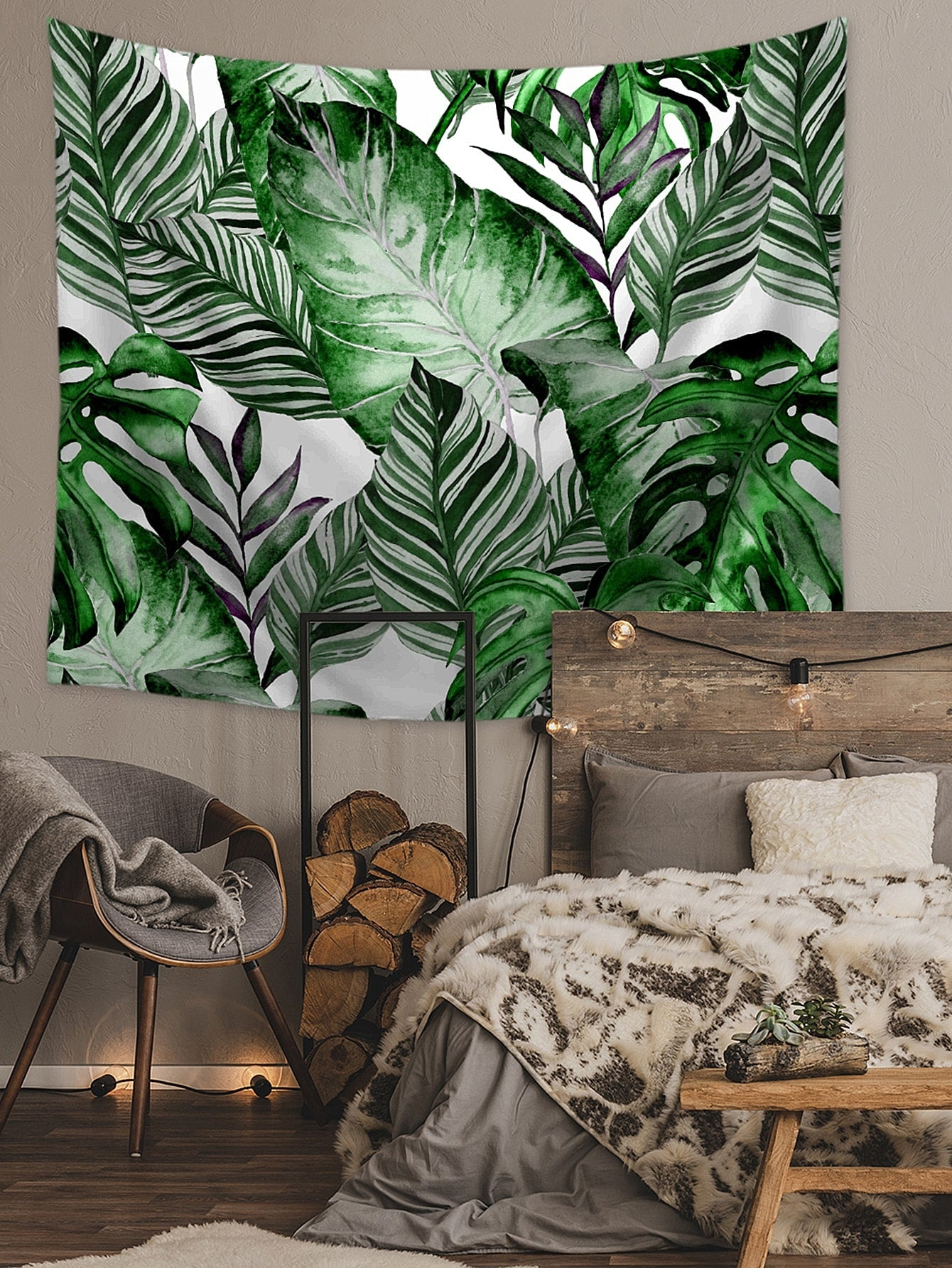 Tropical Leaf Print Tapestry
