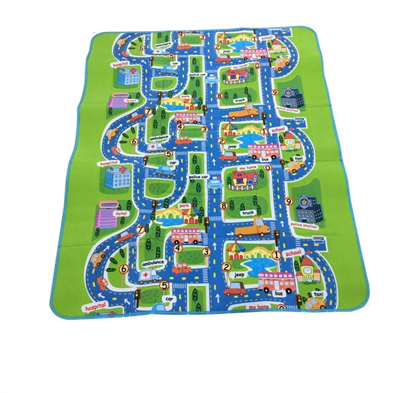 Rectangular Damp-proof Carpet City Design Portable Kids Play Mat