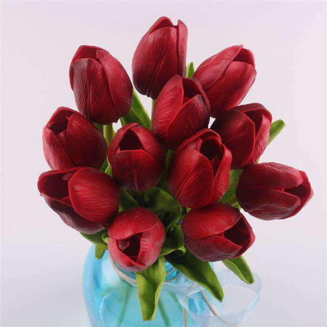 12 Real Touch Tulip Bouquet Selffix