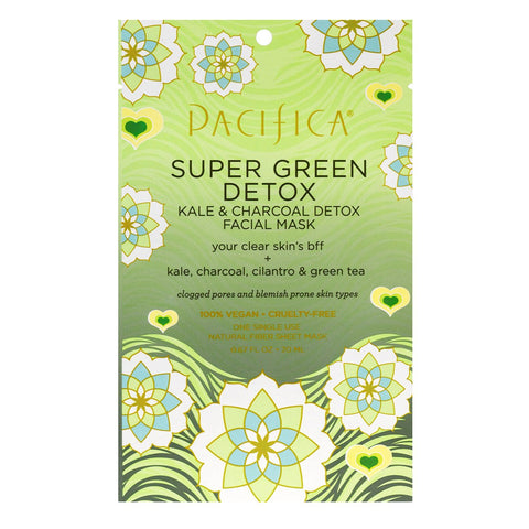Vegan Super Green Detox Kale and Charcoal Detox Facial Sheet Mask by Pacifica