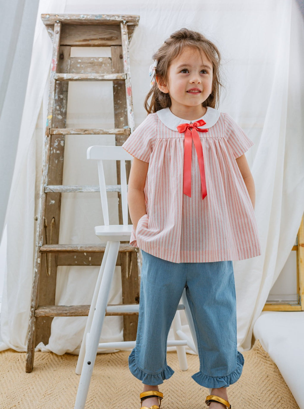 Cambridge Blouse & Bow Tie Set, Candy Stripes