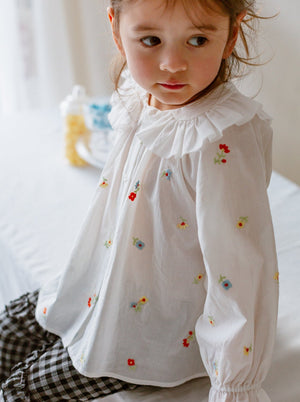 Rosebush Blouse, Embroidered Florals